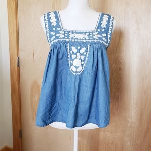 NWT Lovers + Friends Embroidered Chambray Tank